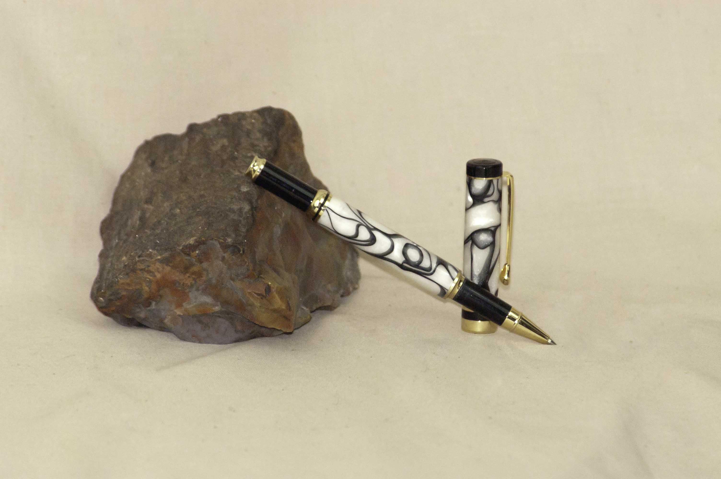 Black and White Resin Rollerball